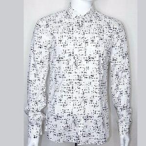 HUGO BOSS Collard Slim Fit Shirt Large White Black